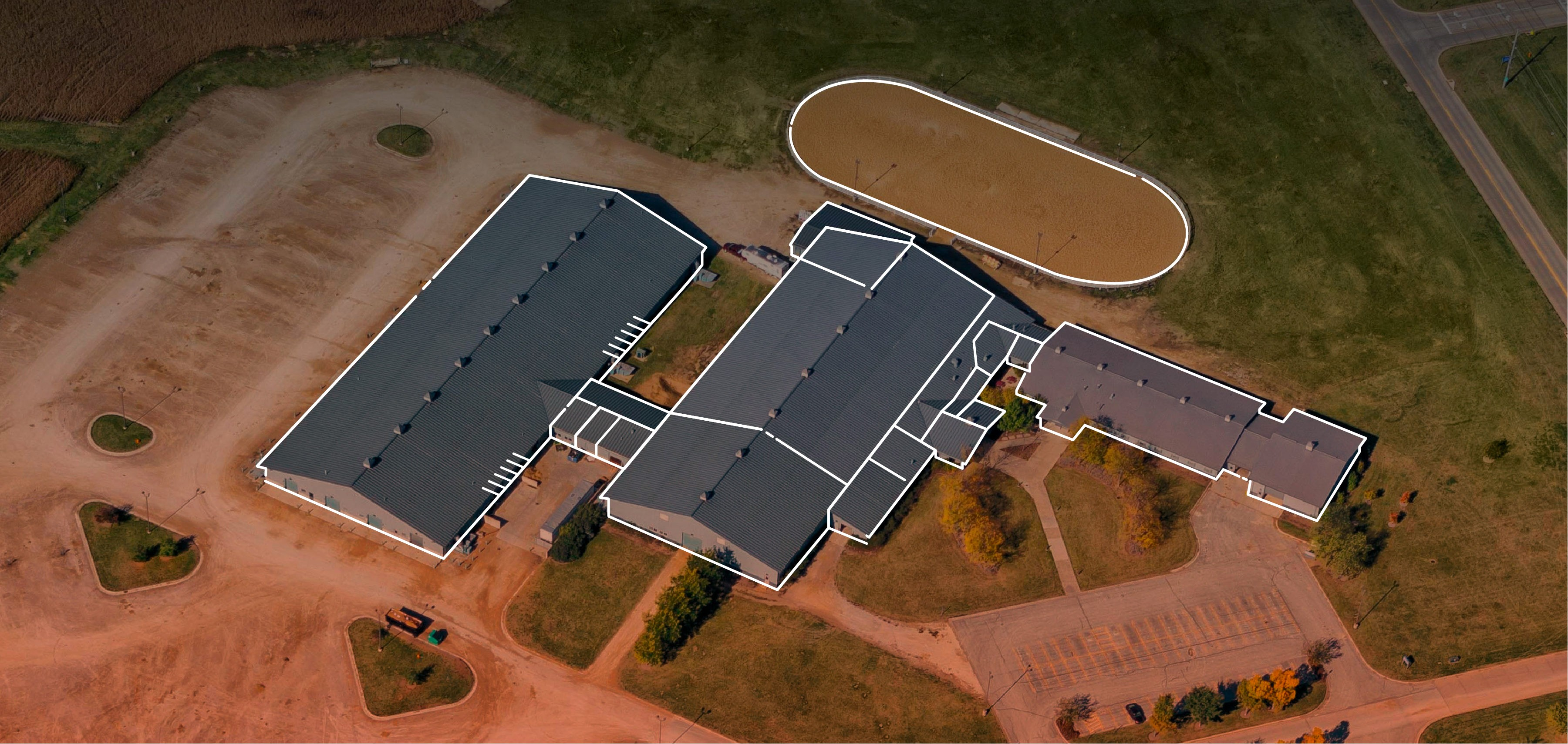 Aerial view of Iowa Equestrian Center