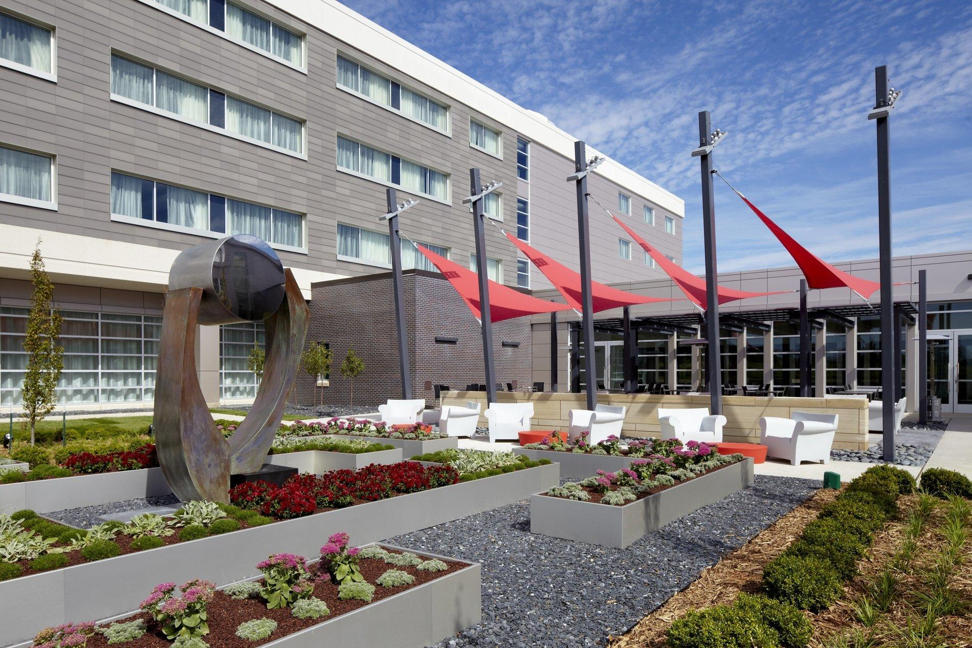 Hotel outdoor dining area and garden